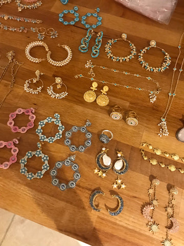 Soru Jewellery laid out ready to shoot behind the scenes of the summer 20189 collection photo shoot