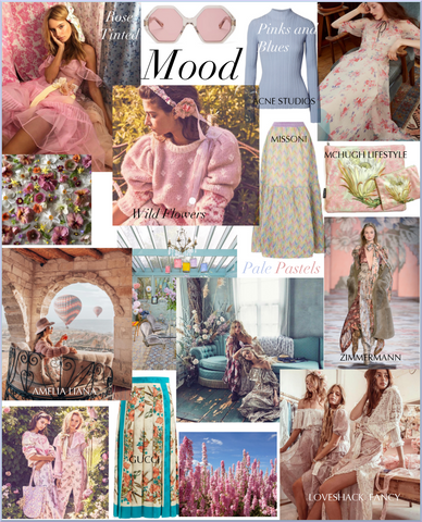 Soru Jewellery SS19 pastel floral and print mood board