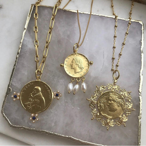 soru jewellery coin necklace, coin collection blog, gold roman coins, Italian coins
