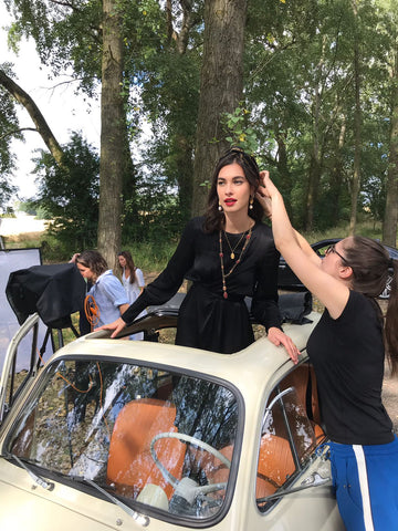 behind the scenes soru jewellery photoshoot at Umberslade farm park
