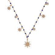 soru jewellery long length celeste necklace, blue gold star necklace