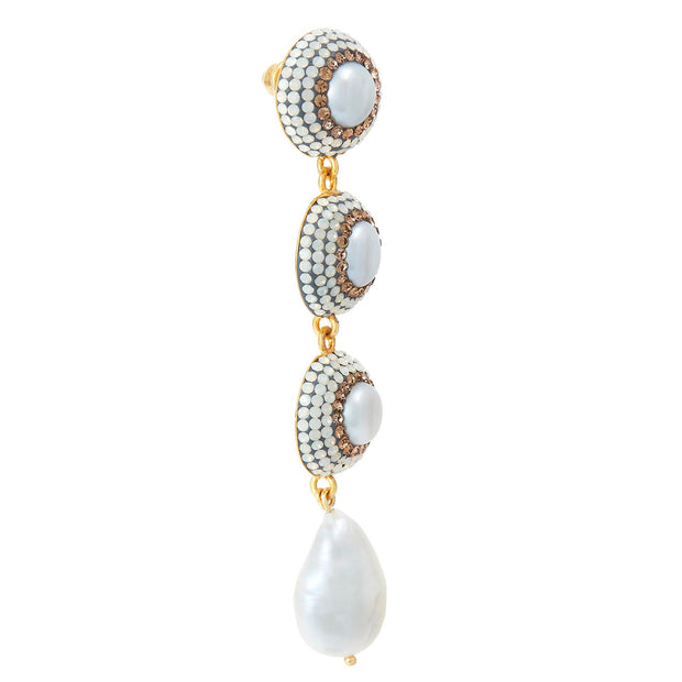 soru jewellery baroque pearl and gold crystal earrings