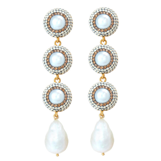 soru jewellery baroque pearl earrings gold crystal