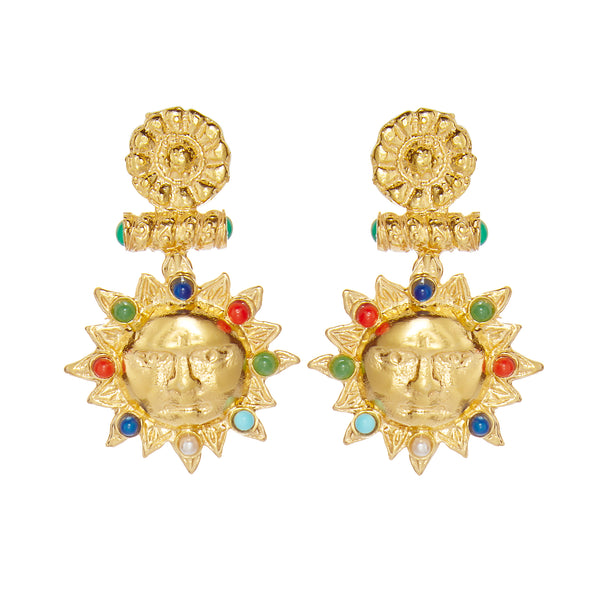 Treasures Sun Earrings, Gold