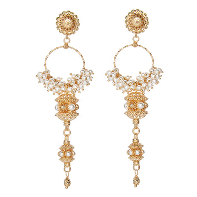 Soru Jewellery pearl and gold Elena earrings
