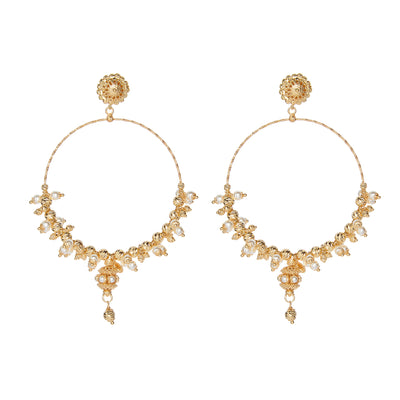 soru jewellery mega hoop pearl and gold vermeil earrings