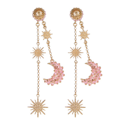 soru jewellery pink zircon luna earrings from the celestial collection