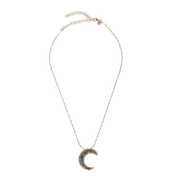 Soru Jewellery Notte Crescent Moon Crystal Pendant Necklace