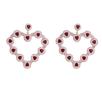 the fashion bug blog x soru valentines heart  earrings, red heart crystals, mini pearls
