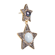soru jewellery moonstone and  grey pearl star earrings, celestial