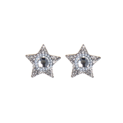 soru jewellery silver star stud earrings, celestial, crystal studs