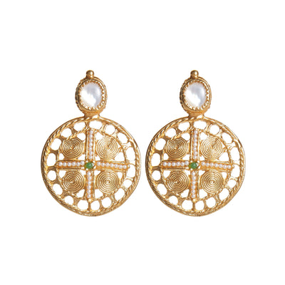 soru jewellery Diana gold vermeil earrings, shield, treasures pearl earrings