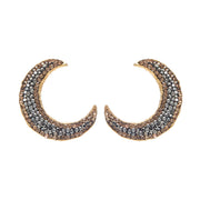 soru jewellery crystal encrusted crescent moon stud earrings