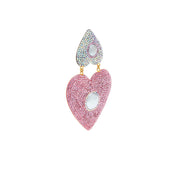 the fashion bug blog x soru mila heart earrings, soru pink crystal heart earrings, pearl and gold heart earrings, clip on soru heart earrings
