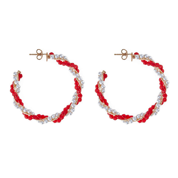 soru candy stripe hoop earrings, Christmas earrings, red and white earrings, pearl and crystal
