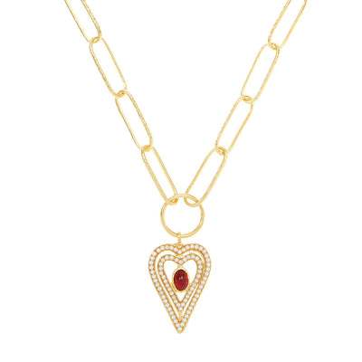 soru jewellery amor heart pearl garnet necklace
