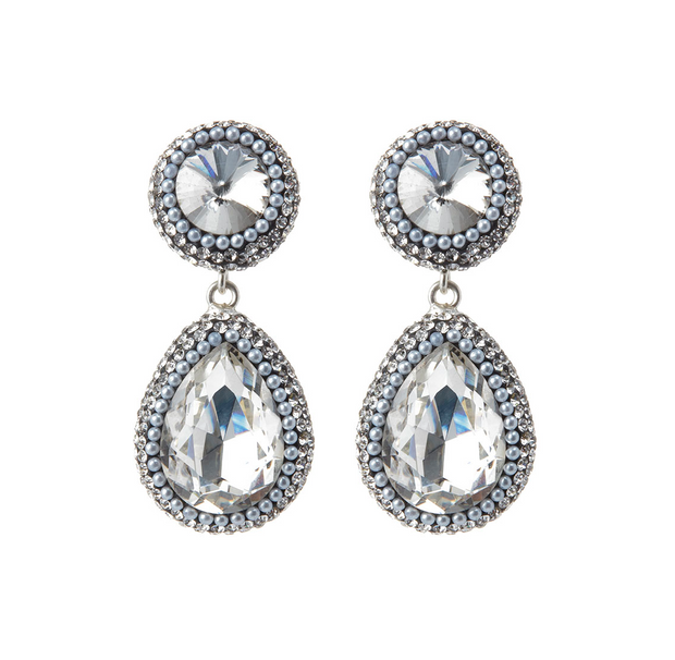 SORU silver crystal teardrop earrings