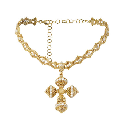 Pearl Cross Choker, Gold