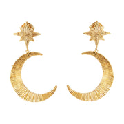 soru Orion star and moon gold earrings