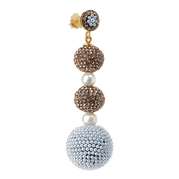 soru bronze and crystal glitter ball earrings