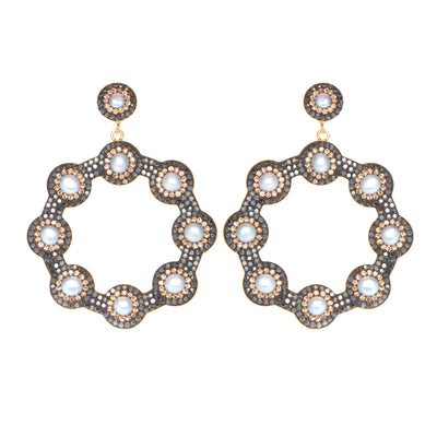 soru jewellery baroque pearl hoop earrings, soru pearl hoop, soru crystal hoop