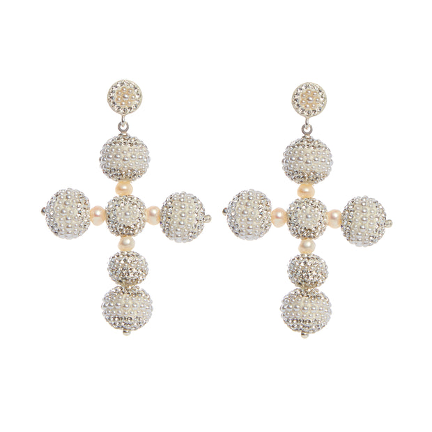 the fashion bug blog x soru Eva pearl cross earrings, soru pearl cross earrings