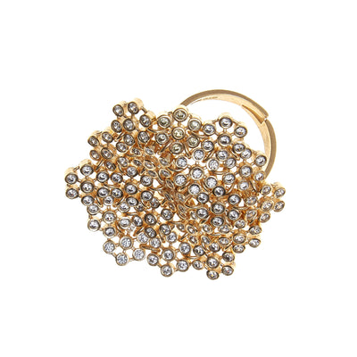 soru siciliana marianna ring, gold chain ring, crystal ring, soru statement ring