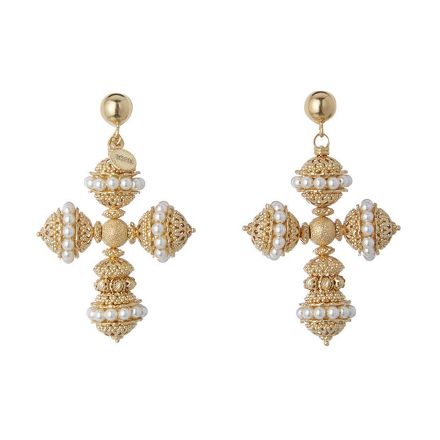 soru jewellery gold plated silver and pearl cross earrings, Santina, Sicilian collection, Italian style