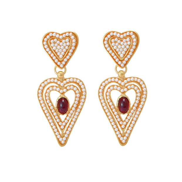 soru jewellery pearl heart amor earrings
