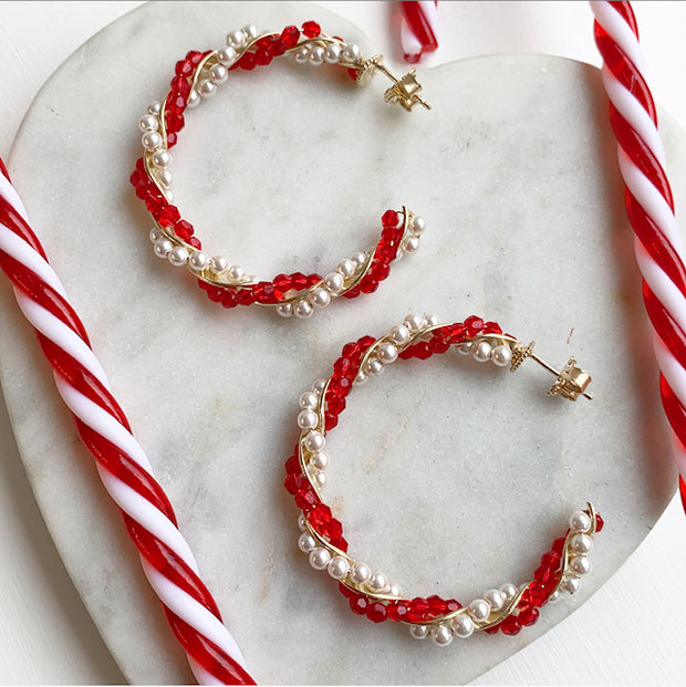 soru candy strip Christmas hoop earrings, novelty Christmas earrings