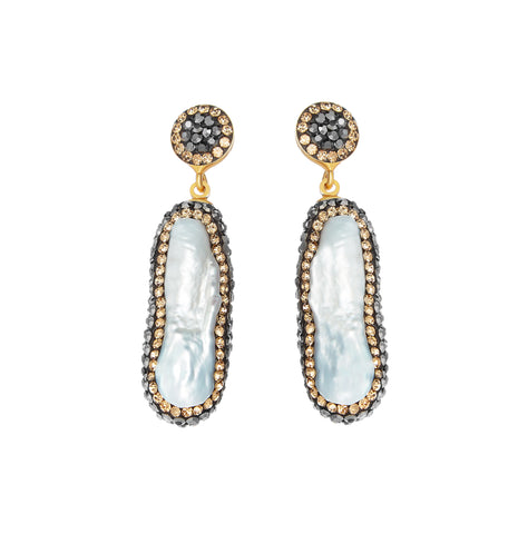 Baroque Pearl Double Sided Earrings, Gold