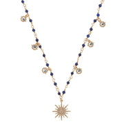 celeste short necklace, soru blue gold star necklace, celestial