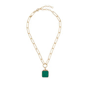 soru green malachite lynx charm, clip on necklace