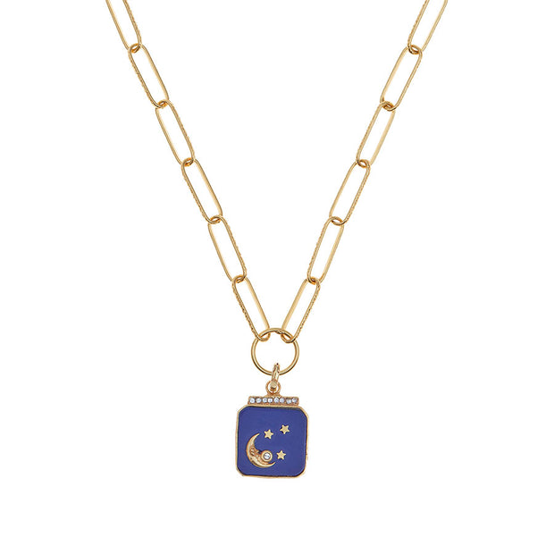 soru nova blue moon and star charm necklace