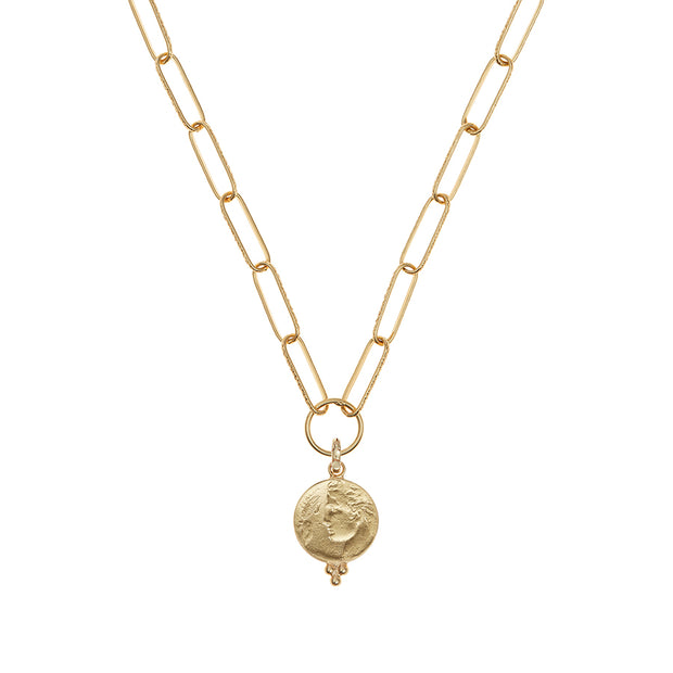 soru Agrigento charm necklace, gold coin necklace
