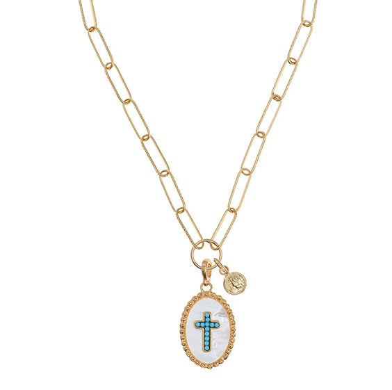 soru Positano charm necklace, mother of pearl turquoise cross charm