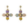 Multicoloured Cross Earrings