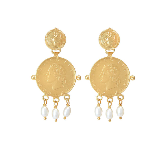 SORU JEWELLERY ROMA EARRINGS GOLD COIN