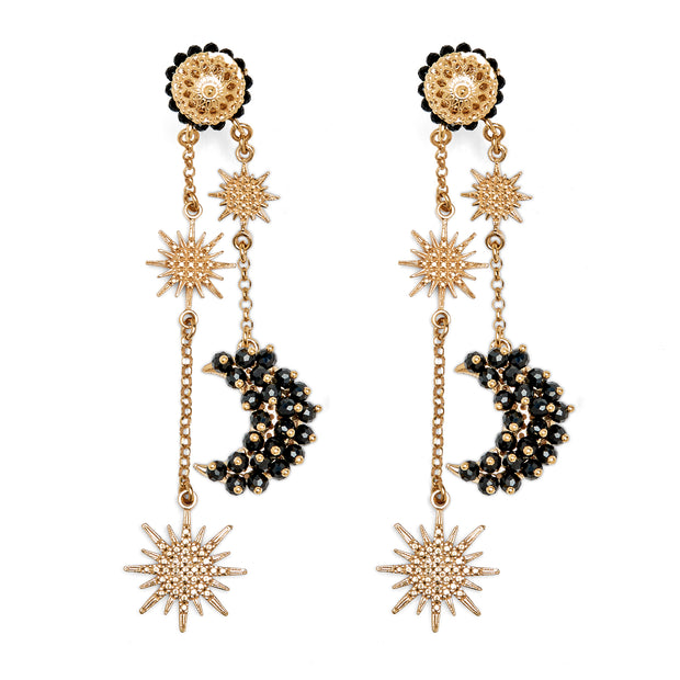 soru jewellery black spinel luna earrings from the celestial collection