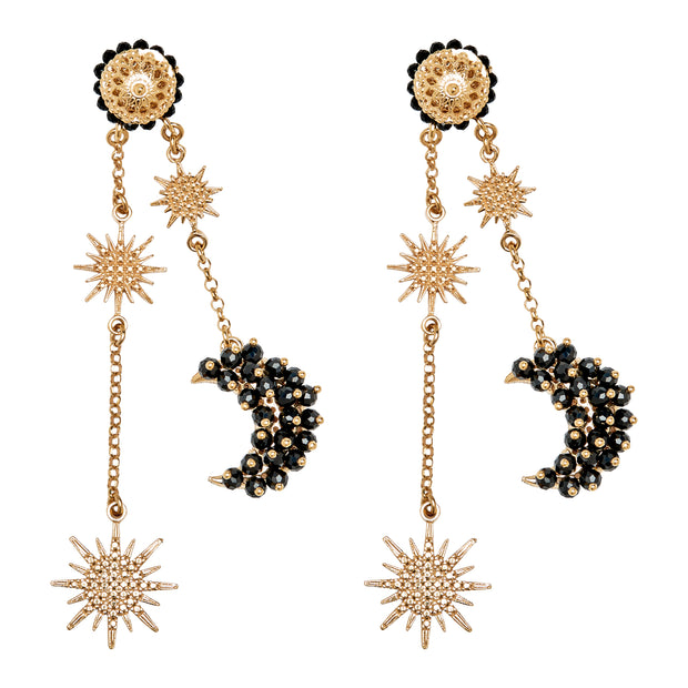 soru jewellery black spinel luna earrings in gold vermeil from the celestial collection