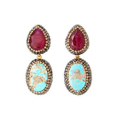 soru jewellery ruby and turquoise earrings
