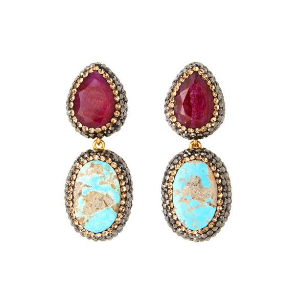 Ruby & Turquoise Earrings, Gold
