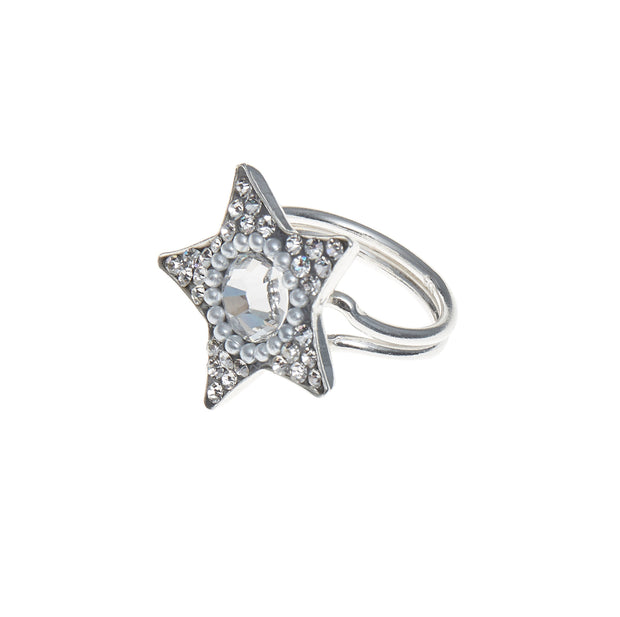 soru silver star and pearl crystal ring