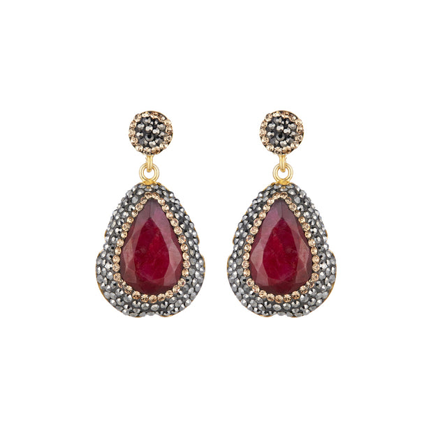 soru ruby earrings, soru red earrings, soru ruby, duchess