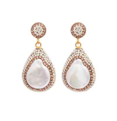 soru jewellery baroque pearl earrings, soru pearl earrings, soru pearl and opal earrings
