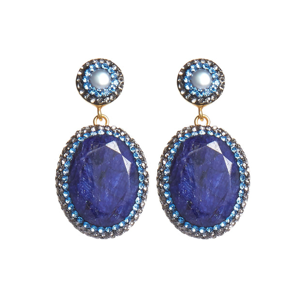 soru jewellery blue sapphire earrings