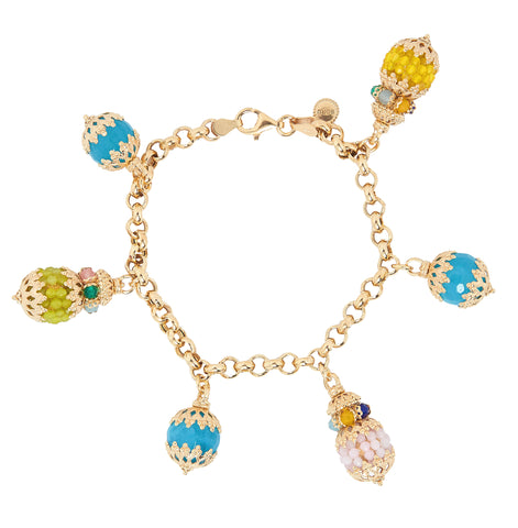 Multi Coloured Agate Charm Bracelet, Gold