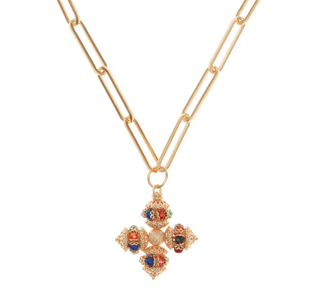 soru santina multicoloured cross necklace gold