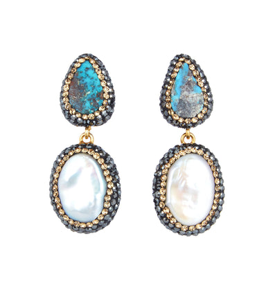 Turquoise & Baroque Pearl Earrings, Gold