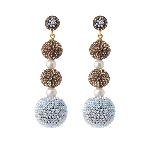 soru bronze glitter ball statement earrings